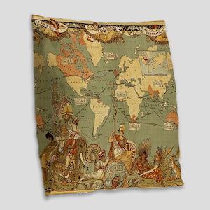 Antique World Map Vintage Eart Burlap Throw Pillow
