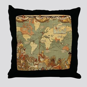 Antique World Map Vintage Earth Throw Pillow