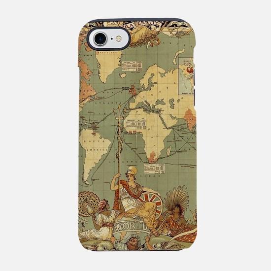 Antique World Map Vintage Eart iPhone 7 Tough Case