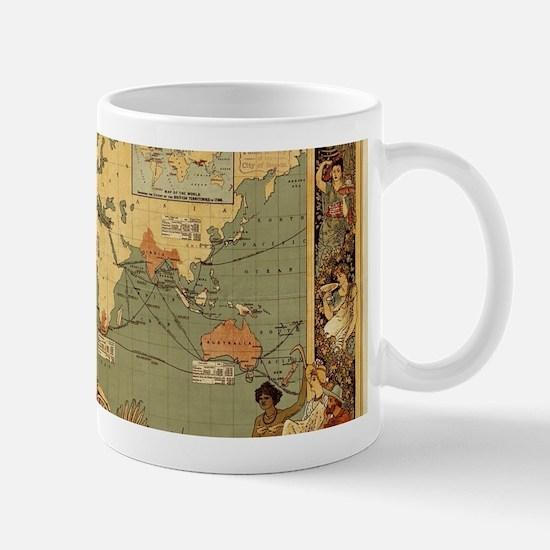 Antique World Map Vintage Earth Mugs