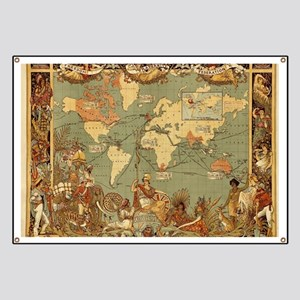 Old world map banners cafepress antique world map vintage earth banner gumiabroncs Choice Image