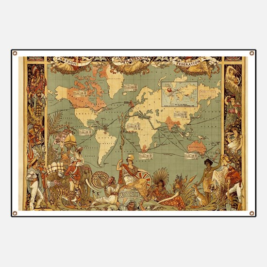 Antique World Map Vintage Earth Banner