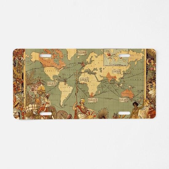 Antique World Map Vintage E Aluminum License Plate
