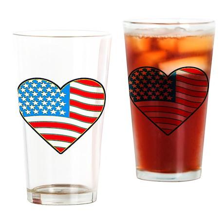 I Love America Flag Pint Glass