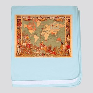 Antique World Map Vintage Earth baby blanket