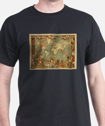 Antique World Map Vintage Earth T-Shirt