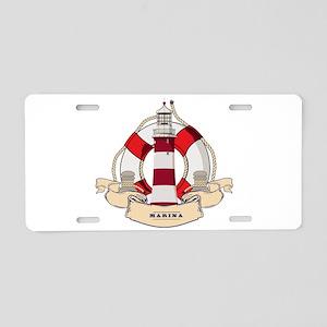LIGHTHOUSE AND LIFEBELT Aluminum License Plate