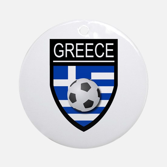 Greece Soccer Patch Ornament (Round)