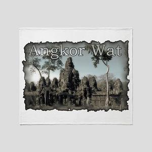 Vintage Angkor Wat Throw Blanket