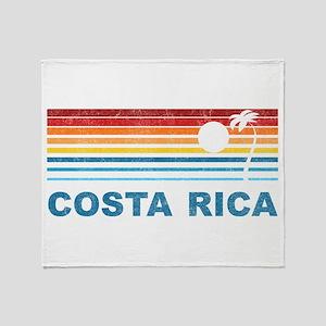 Retro Costa Rica Palm Tree Throw Blanket