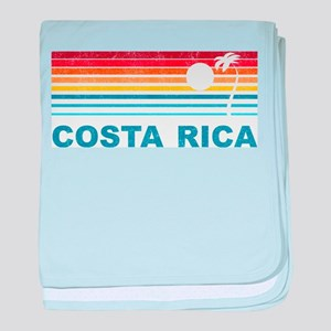 Retro Costa Rica Palm Tree baby blanket