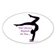 Gymnastics Oval Sticker - Success