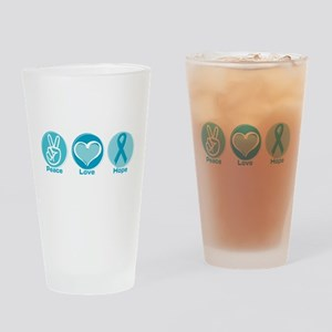 Peace Love Teal Hope Drinking Glass