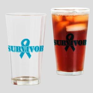 Teal Ribbon Survivor Drinking Glass