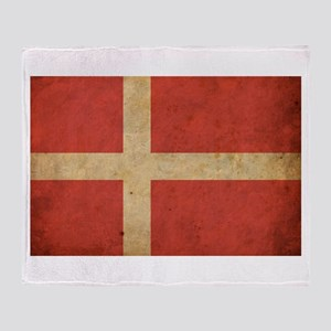 Vintage Denmark Flag Throw Blanket