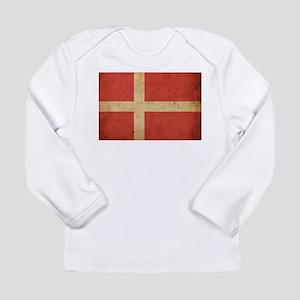 Vintage Denmark Flag Long Sleeve Infant T-Shirt