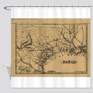 Vintage Map Of Texas 1838 Shower Curtain