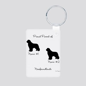 2 Newfoundlands Aluminum Photo Keychain