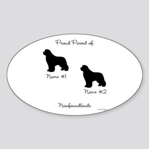 2 Newfoundlands Sticker (Oval)
