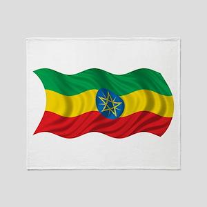 Wavy Ethiopia Flag Throw Blanket