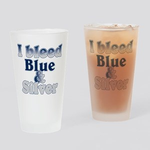 I Bleed Blue and Silver Pint Glass