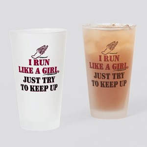 Run like a girl red Drinking Glass
