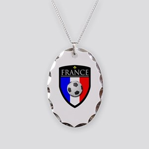 France Soccer Patch Necklace Oval Charm