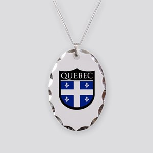 Quebec Flag Patch Necklace Oval Charm