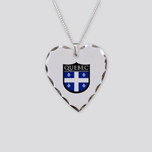 Quebec Flag Patch Necklace Heart Charm