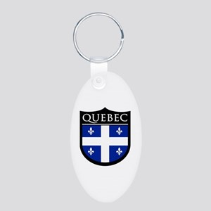 Quebec Flag Patch Aluminum Oval Keychain
