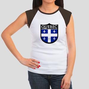 Quebec Flag Patch Women's Cap Sleeve T-Shirt