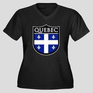 Quebec Flag Patch Women's Plus Size V-Neck Dark T-