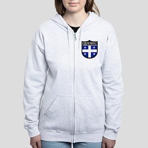 Quebec Flag Patch Women's Zip Hoodie
