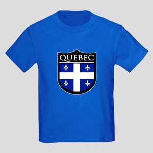 Quebec Flag Patch Kids Dark T-Shirt