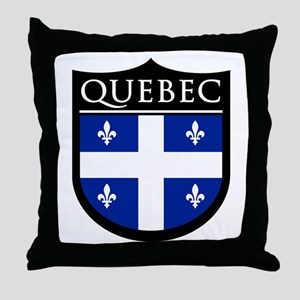 Quebec Flag Patch Throw Pillow