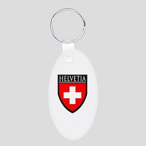 Swiss (HELVETIA) Patch Aluminum Oval Keychain