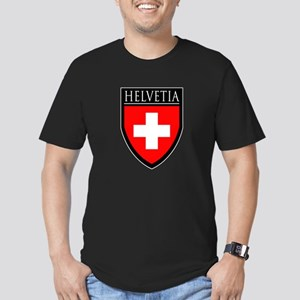 Swiss (HELVETIA) Patch Men's Fitted T-Shirt (dark)