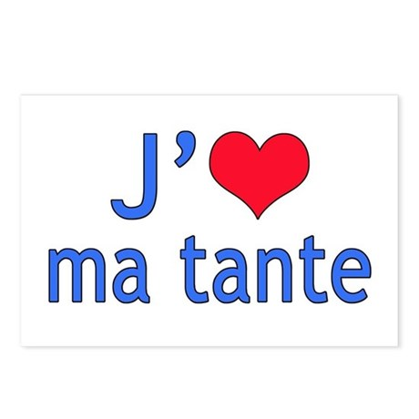 I Love Aunt (French) Postcards (Package of 8)