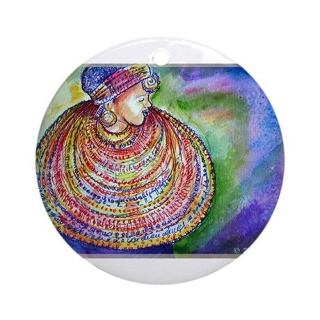 African Lady, Colorful, art, Ornament (Round)