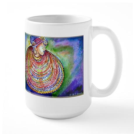 African Lady, Colorful, art, Large Mug