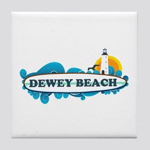 Dewey Beach DE -Surf Design Tile Coaster