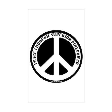 Peace Through Superior Firepower Sticker (Rectangu