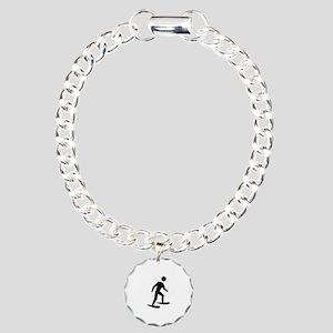 Snow Shoeing Image Charm Bracelet, One Charm