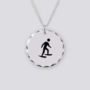 Snow Shoeing Image Necklace Circle Charm