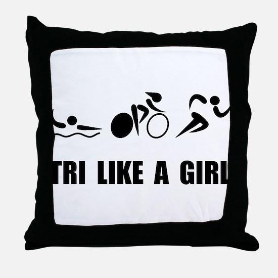 Cute Triathlon Throw Pillow