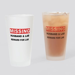 Missing Husband Lab Drinking Glass