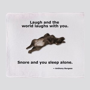 Snoring Chocolate Labrador Throw Blanket