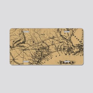Vintage Map of Texas (1838) Aluminum License Plate