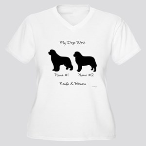 Newf and Berner Women's Plus Size V-Neck T-Shirt