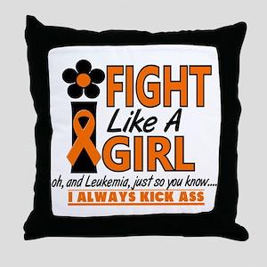 Licensed Fight Like a Girl 1.2 Leukem Throw Pillow